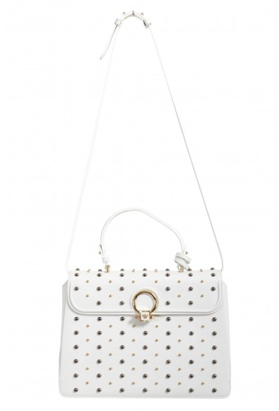 Versace Women's White Studded Dv Leather Satchel Handbag Shoulder Bag