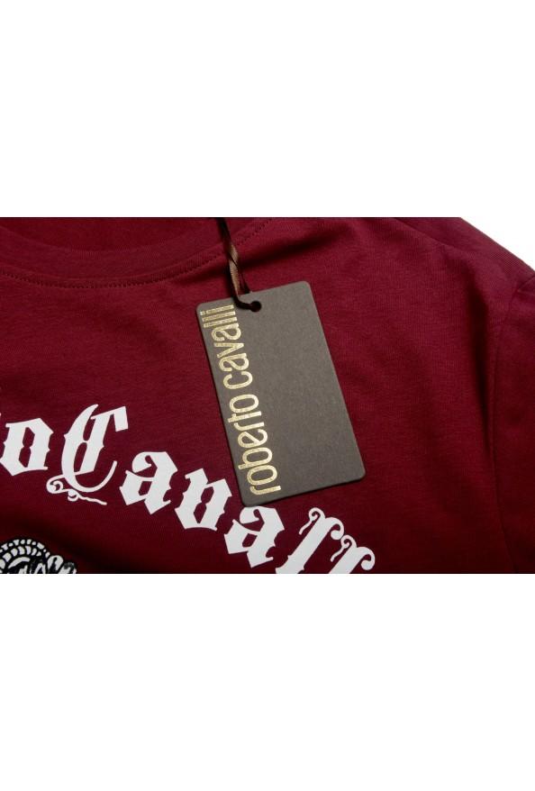 Roberto Cavalli Men's Burgundy Graphic Print Crewneck T-Shirt: Picture 5