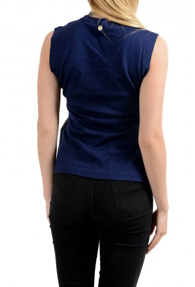 Versace Collection Women's Silk Navy Blue V-Neck Sleeveless Tank Top: Picture 2