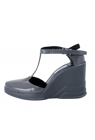 Prada Gray Leather Ankle Wedges T-Strap Sandals Shoes : Picture 2