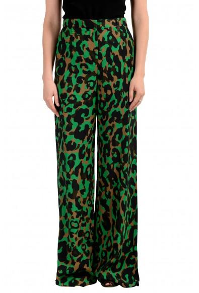 Versace Women's Multi-Color Animal Print Wide Leg Flat Front Pants