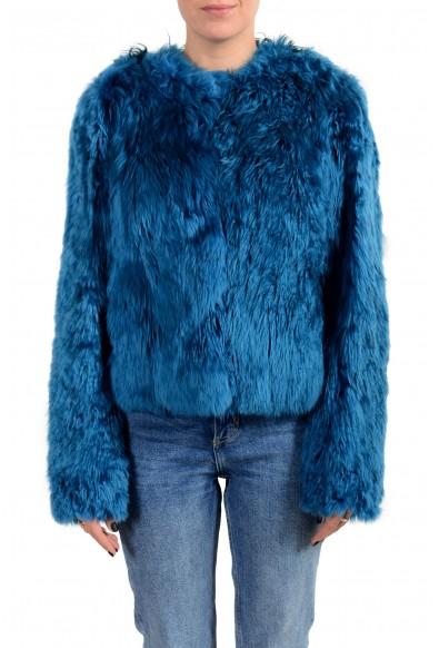Versace Women's Blue Real Fur Lama Silk Leather Jacket
