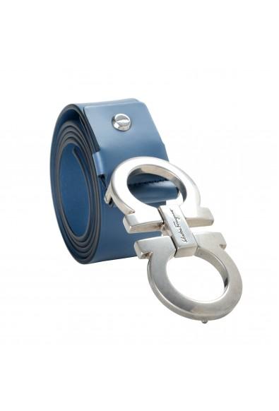 Salvatore Ferragamo Men's Blue 100% Leather Buckle Decorated Belt