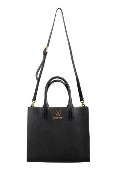 Roberto Cavalli Women's Black Textured Leather Shoulder Handbag Tote Bag