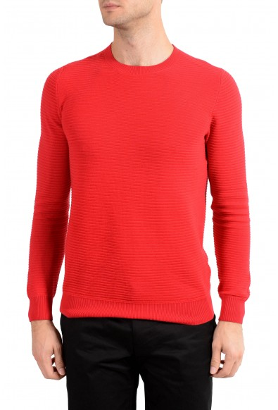 Malo Men's Red Ribbed Crewneck Sweater