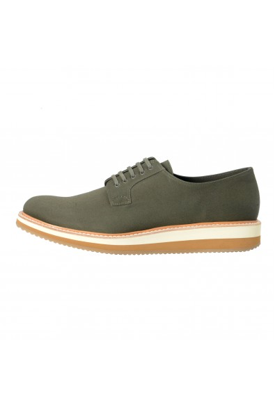 Prada Men's Olive Green Canvas Leather Lace Up Casual Oxfords Shoes: Picture 2
