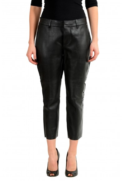 Dsquared2 100% Leather Black Women's Cropped Casual Pants
