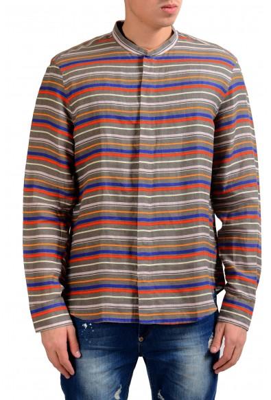 Armani Collezioni Men's 100% Linen Striped Button Front Casual Shirt