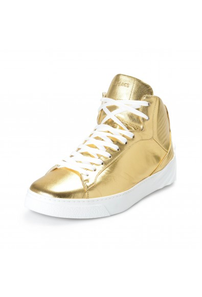 Versace Men's Gold Leather Medusa Hi Top Fashion Sneakers Shoes