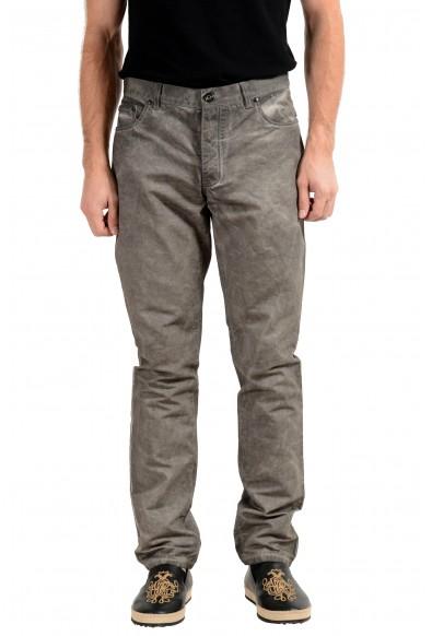 John Varvatos Men's Linen Faded Gray Slim Skinny Jeans