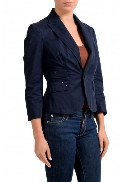 Dsquared2 Navy Distressed One Button Women's Blazer : Picture 2
