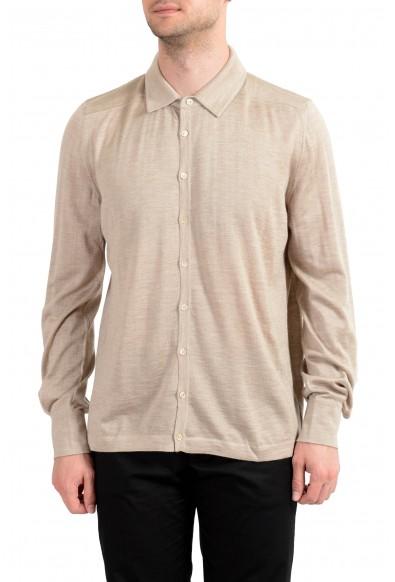 Malo Men's Cashmere Silk Beige Long Sleeve Casual Shirt