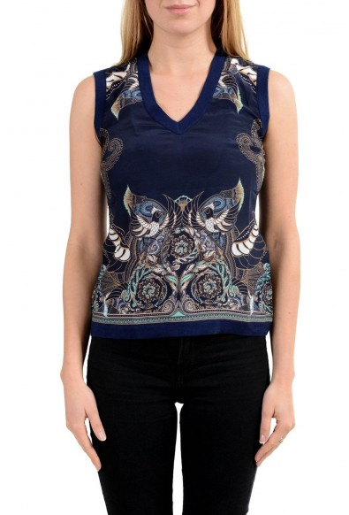 Versace Collection Women's Silk Navy Blue V-Neck Sleeveless Tank Top