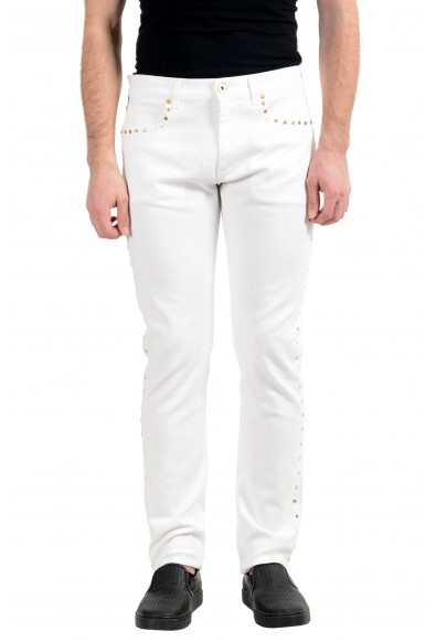 Versace Men's White Stretch Beads Decorated Taylor Fit Slim Jeans