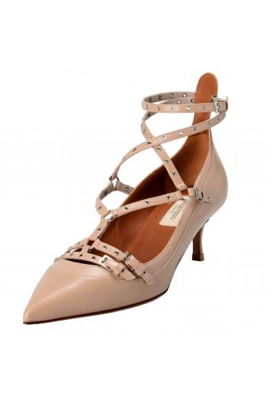 Valentino Garavani Women's Leather Beige Ankle Strap Kitten Heels Shoes