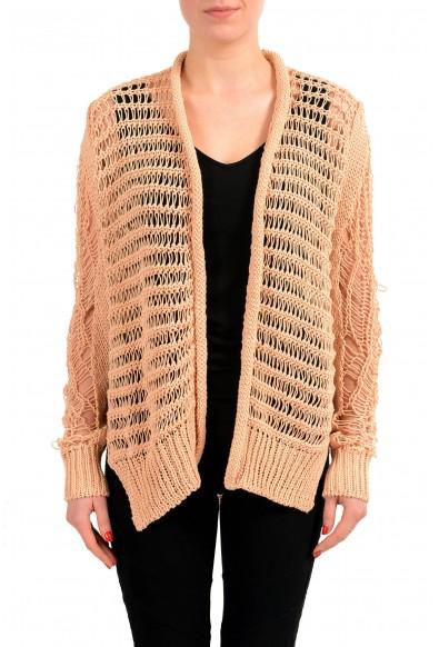 Maison Margiela 1 Beige Distressed Women's Buttonless Cardigan Sweater
