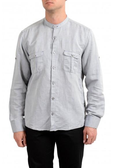 """Hugo Boss Men's """"T-Steve"""" Gray Linen Long Sleeve Casual Shirt"""