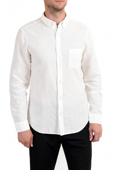 Burberry Brit Men's Linen White Button-Down Long Sleeve Casual Shirt
