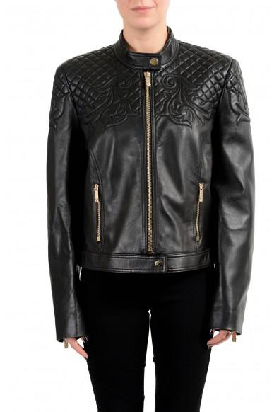 Versace Women's 100% Leather Black Designed Full Zip Jacket