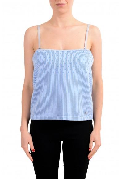 Salvatore Ferragamo Women's Wool Blue Knitted Spaghetti Strap Tank Top