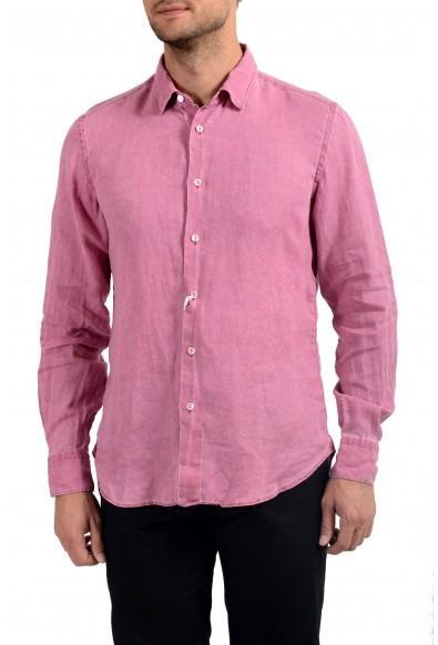 Malo Men's 100% Linen Pink Long Sleeve Dress Shirt