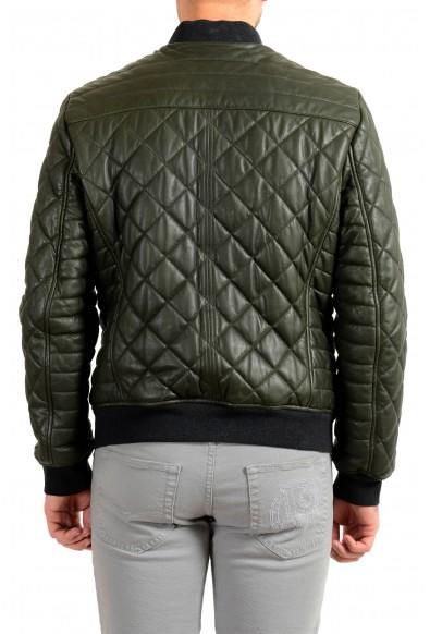 "Hugo Boss Men's ""Jecey"" 100% Leather Dark Green Bomber Jacket : Picture 2"