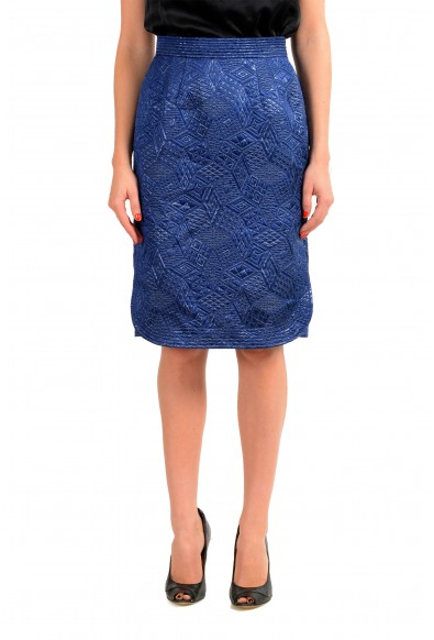 Malo Women's Royal Blue Silk Quilted Skirt