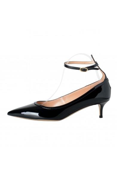 Valentino Garavani Women's Patent Leather Black Ankle Strap Kitten Heels Shoes: Picture 2