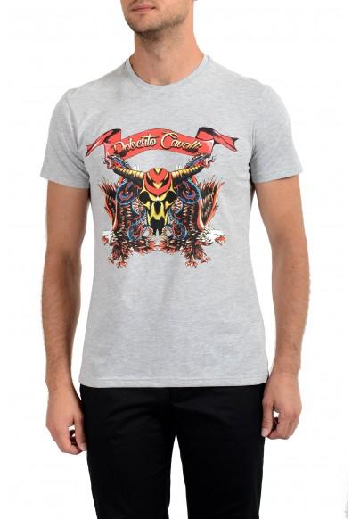 Roberto Cavalli Men's Gray Graphic Print Crewneck T-Shirt