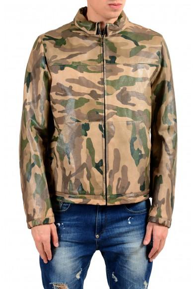 Valentino Men's 100% Leather Camouflage Full Zip Jacket