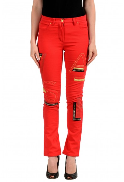 Versace Women's Bright Red Embellished Five Pocket Jeans