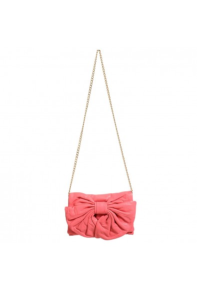 Red Valentino Women's Pink 100% Leather Bow Decorated Clutch Shoulder Bag