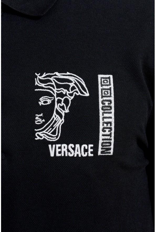 Versace Collection Men's Black Logo Short Sleeve Polo Shirt: Picture 3