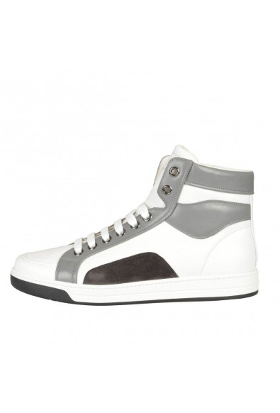 Prada Leather White Hi Top Fashion Sneakers Shoes: Picture 2