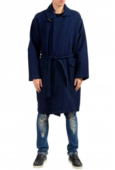 Malo Men's Blue One Button Belted Coat