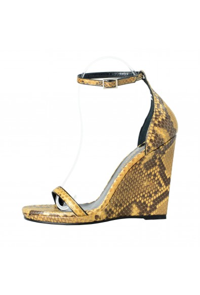 Saint Laurent Women's Python Skin Wedges Ankle Strap Sandals Shoes: Picture 2