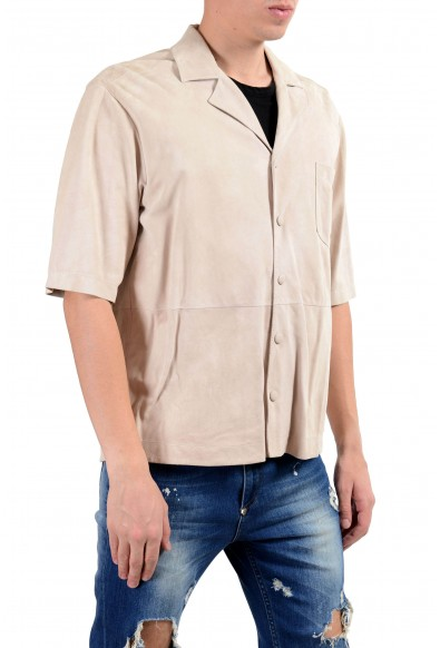 """Hugo Boss """"Charon_FS"""" Men's 100% Suede Leather Ivory Short Sleeve Casual Shirt: Picture 2"""