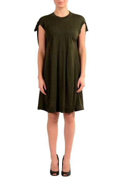 Maison Margiela 4 100% Wool Green Knitted Women's Tunic Dress