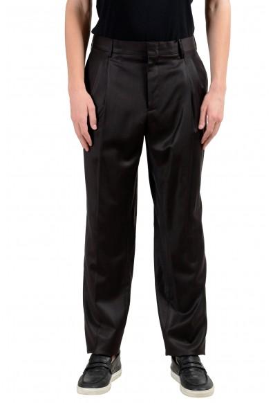 Versace Men's 100% Wool Dark Brown Pleated Dress Pants