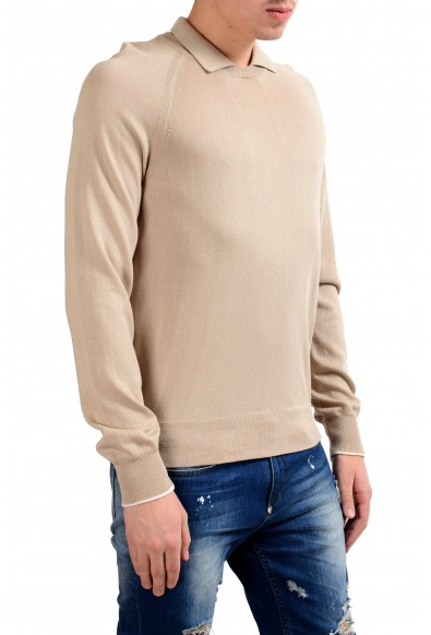 Malo Men's Beige Crewneck Polo Looking Pullover Sweater: Picture 2