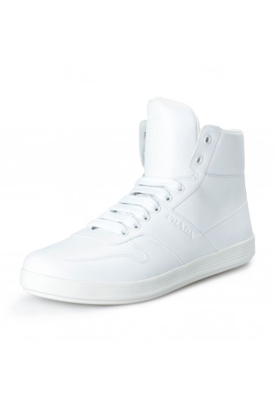 Prada Men's 4T3368 White Leather Hi Top Fashion Sneakers Shoes