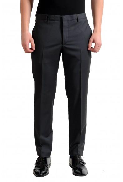 Prada Men's Wool Charcoal Flat Front Dress Pants