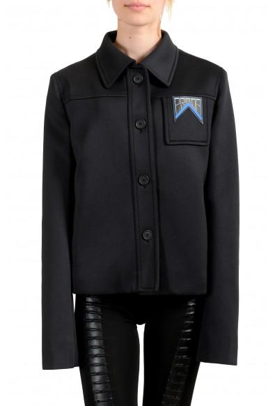 Prada Women's Black Tecno Jersey Button Down Blazer Jacket
