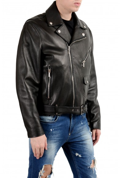Versace Men's 100% Leather Black Belted Double Breasted Jacket: Picture 2