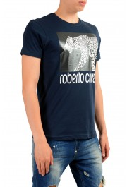 Roberto Cavalli Men's Blue Graphic Print Leopard T-Shirt: Picture 2