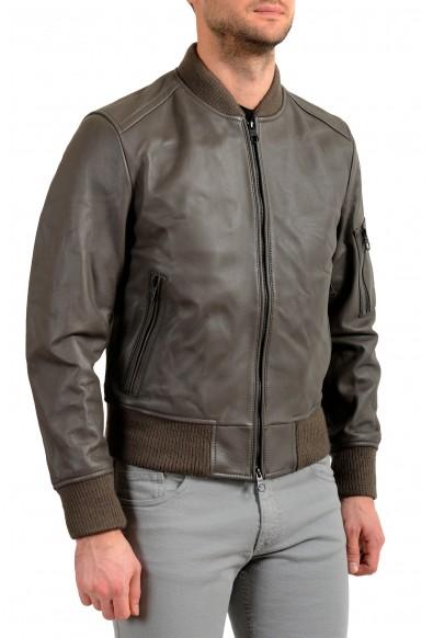 "Hugo Boss Men's ""Naitro"" 100% Leather Gray Bomber Jacket: Picture 2"
