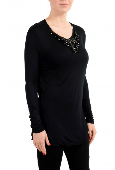 Just Cavalli Women's Black Crystal Decorated Long Sleeve Top: Picture 2