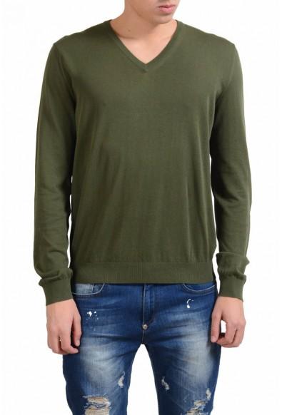 Malo Men's Moss Green V-Neck Light Sweater