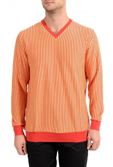 Kiton Napoli Men's Striped V-Neck Pullover Sweater
