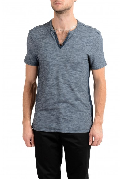 John Varvatos Star USA Men's Blue Short Sleeve Henley Shirt US M IT 50